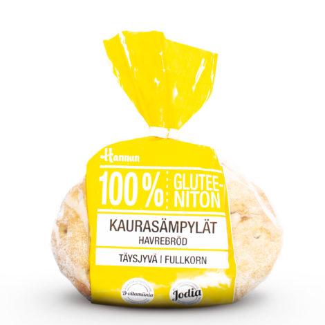 Hannun 100 % Gluteeniton Kaurasämpylät keltaisessa pussissa.