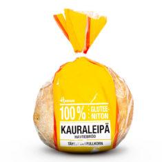 Hannun 100% Gluteeniton Kauraleipä keltaisessa pussissa.