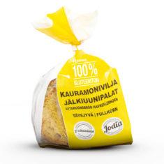 Hannun 100% Gluteeniton Kauramonivilja jälkiuunipalat keltaisessa paperipussissa.