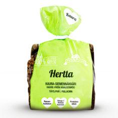 Hannun 100% Glunteeniton Hertta Kaura-siemennäkkäri vihreässä pussissa.