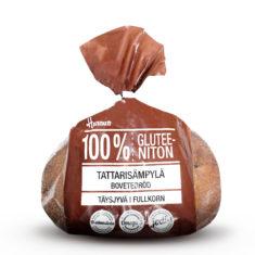 Hannun 100 % Gluteenittomassa Tattari sämpylässä Tattari ja pellava lyövät kättä keskenään pehmeänmakuisessa käsin leivotussa kuitupommissa, jota ei suotta valittu Suomen parhaaksi gluteenittomaksi tuotteeksi 2014. Tattarusämpylä ruskeassa muovipussissa.