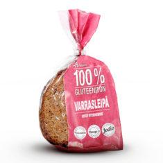 Hannun 100% Gluteeniton Varrasleipä punaisessa paperipussissa