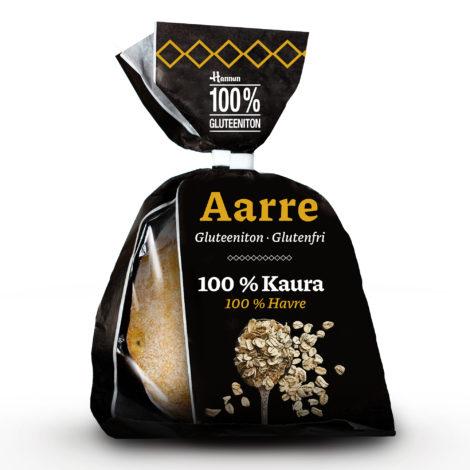 Aarre 100 % Kaura sämpylä Hannun 100 % Gluteeniton mustassa paperisessa pakkauksessa.